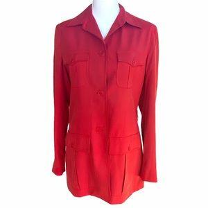 Red Silk Blazer w Pockets Lauren by Ralph Lauren